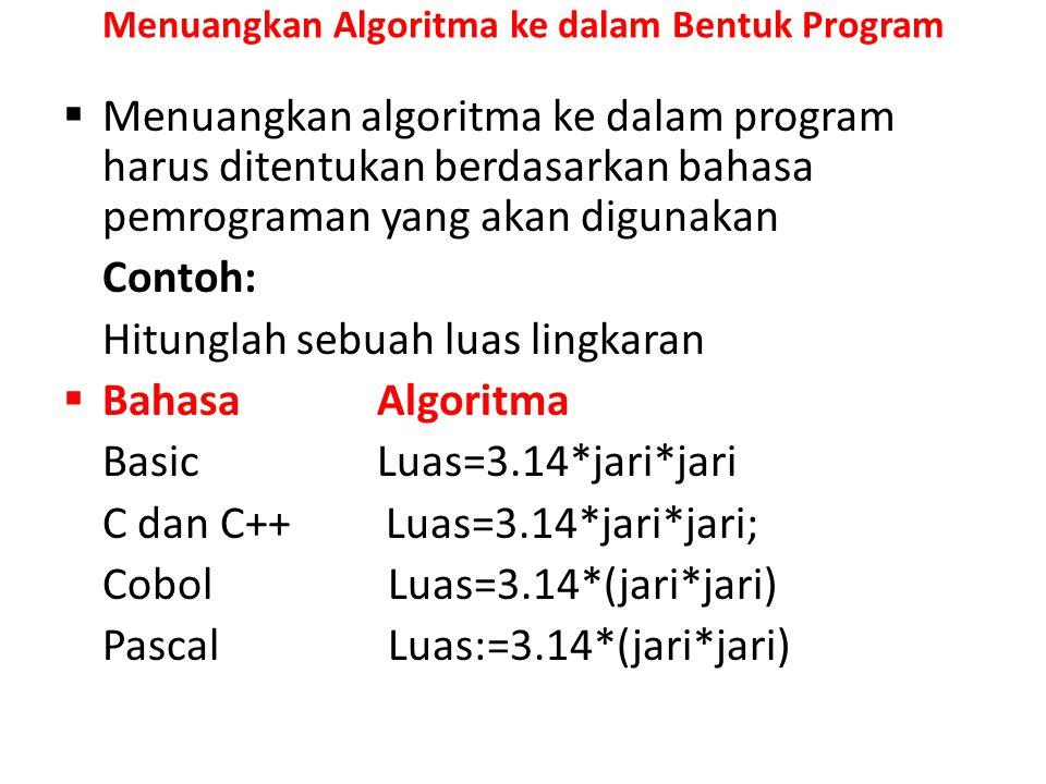 Menuangkan Algoritma ke dalam Bentuk Program