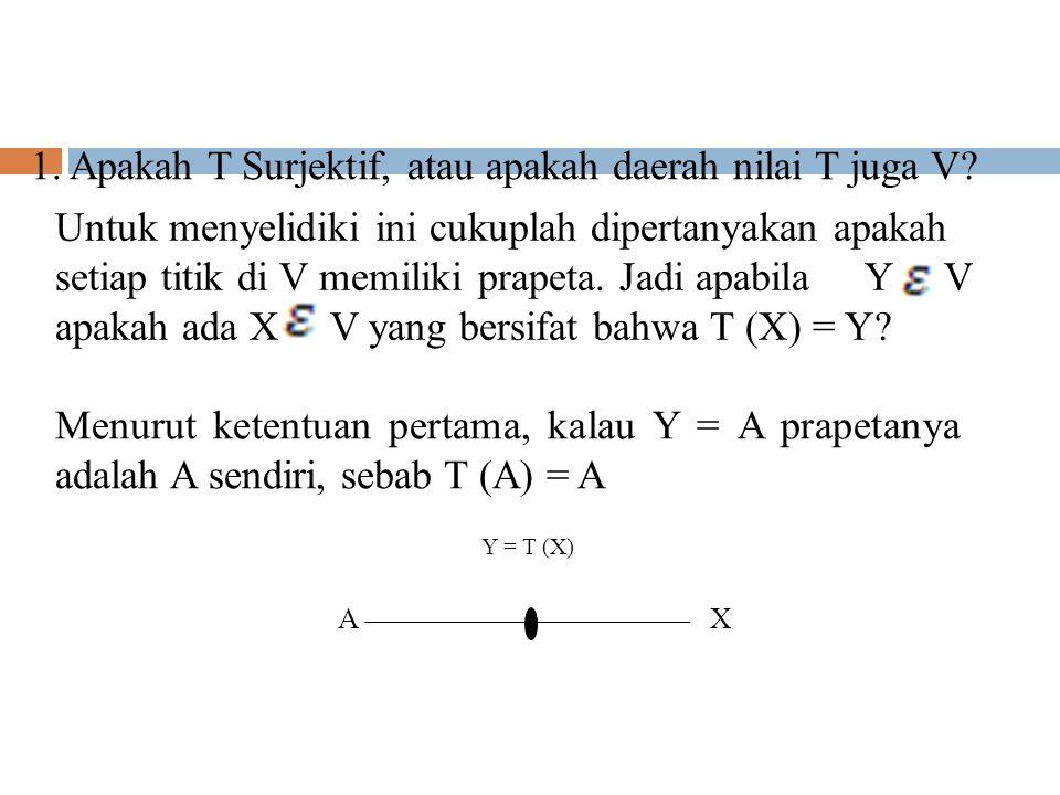 1. Apakah T Surjektif, atau apakah daerah nilai T juga V