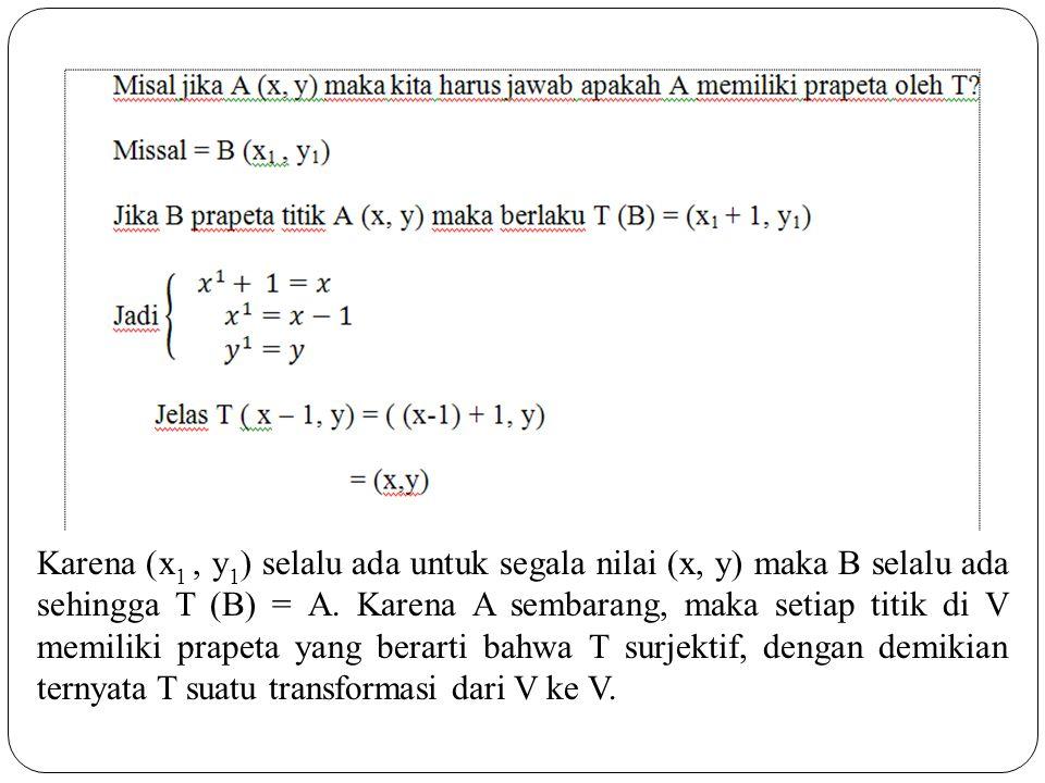 Karena (x1 , y1) selalu ada untuk segala nilai (x, y) maka B selalu ada sehingga T (B) = A.