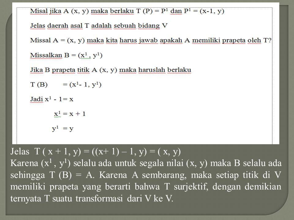 Jelas T ( x + 1, y) = ((x+ 1) – 1, y) = ( x, y)