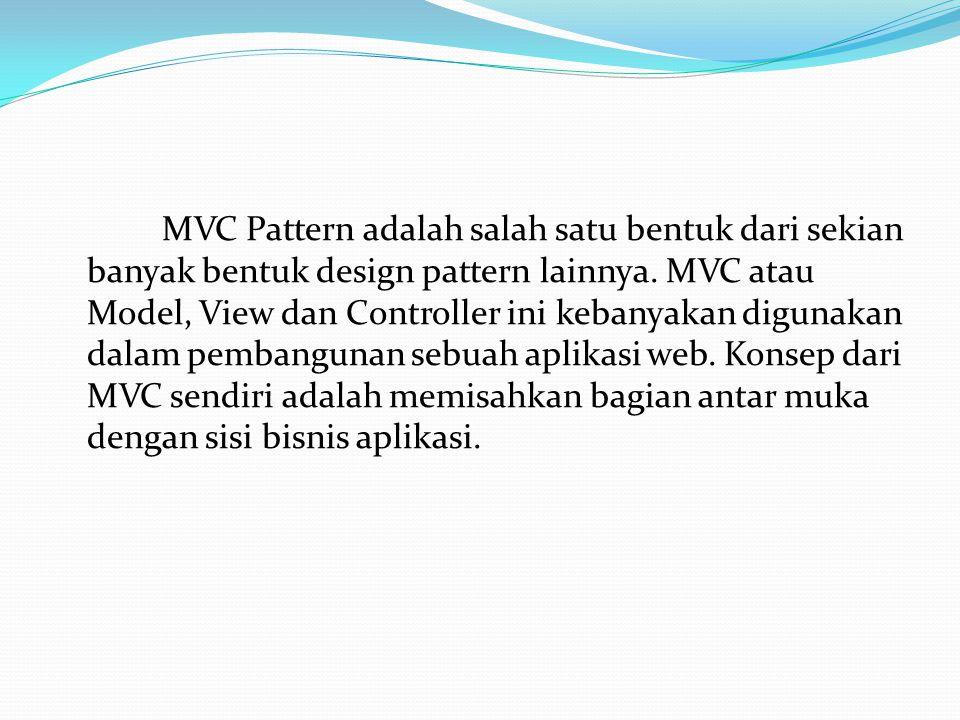 MVC Pattern adalah salah satu bentuk dari sekian banyak bentuk design pattern lainnya.