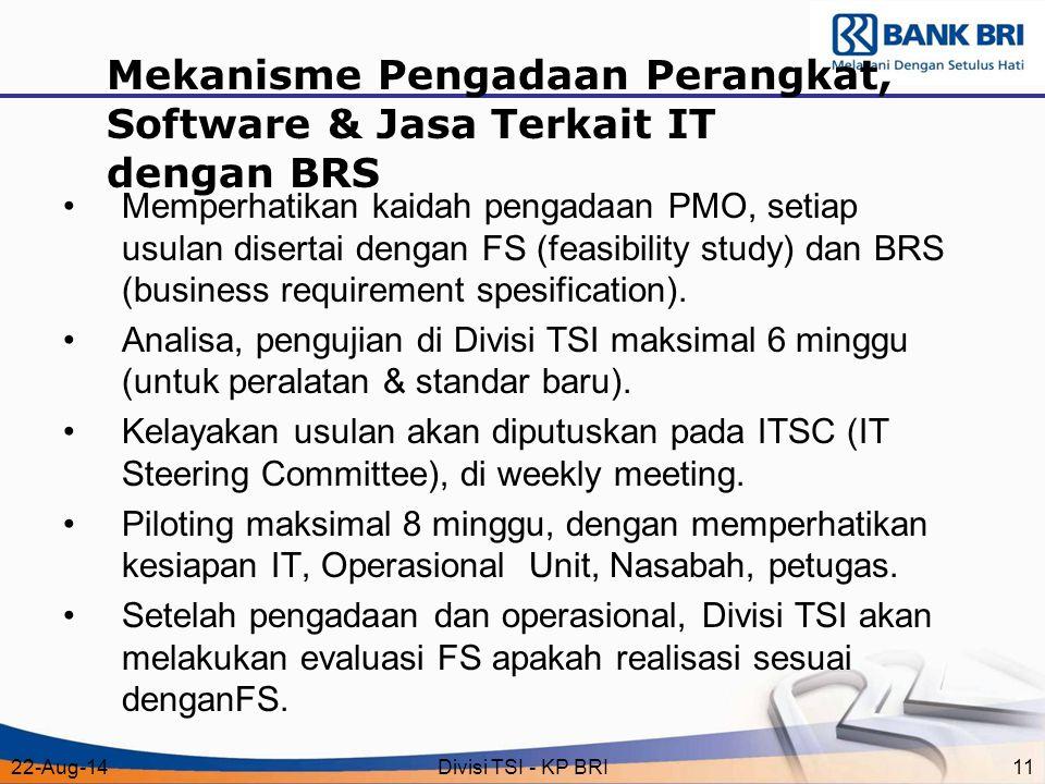 Mekanisme Pengadaan Perangkat, Software & Jasa Terkait IT dengan BRS
