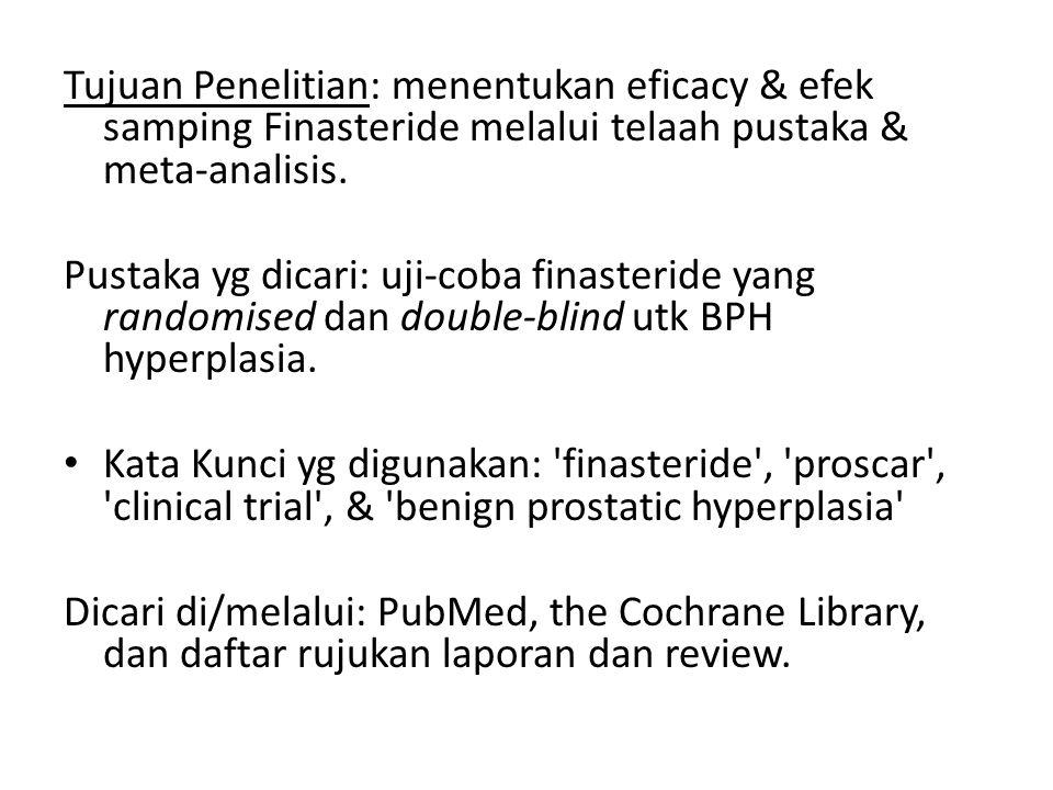 Tujuan Penelitian: menentukan eficacy & efek samping Finasteride melalui telaah pustaka & meta-analisis.