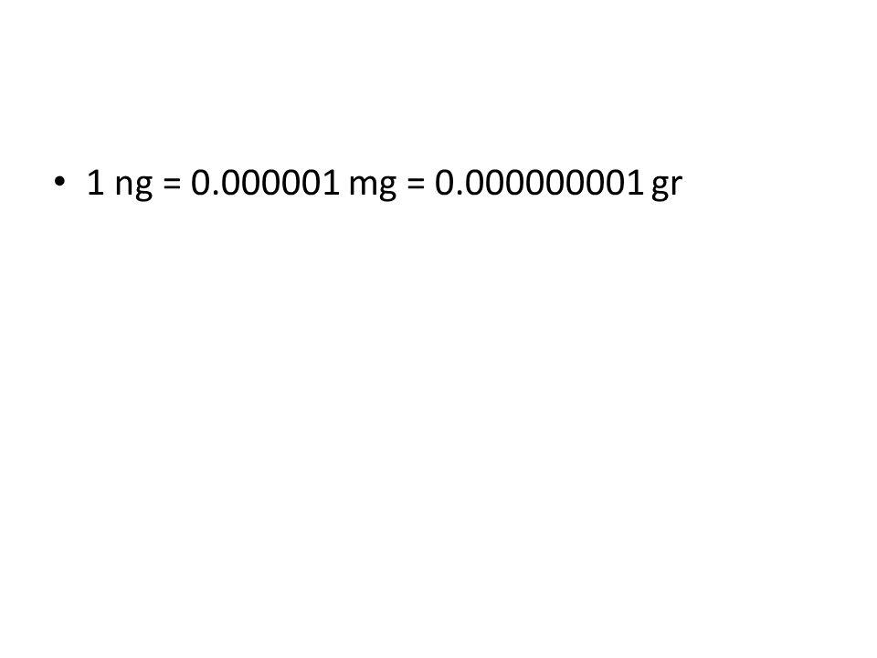 1 ng = 0.000001 mg = 0.000000001 gr