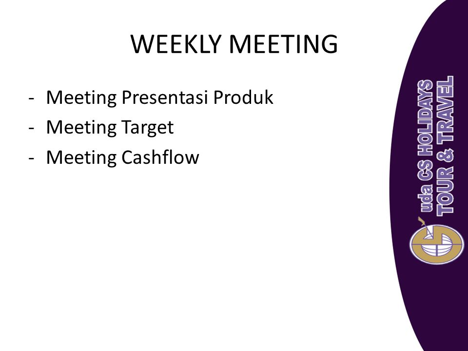 WEEKLY MEETING Meeting Presentasi Produk Meeting Target