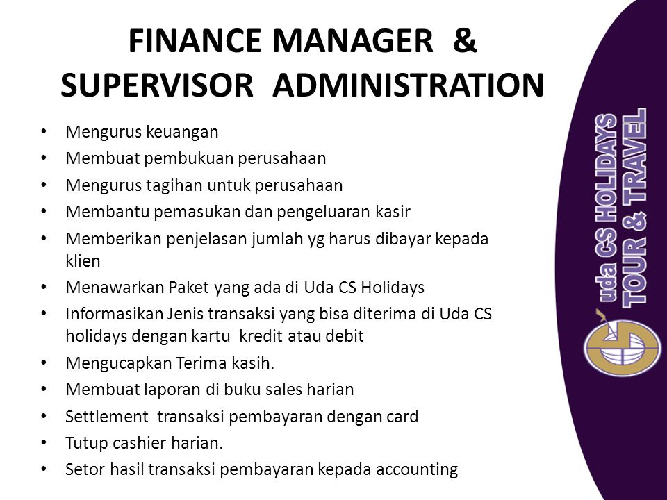 FINANCE MANAGER & SUPERVISOR ADMINISTRATION