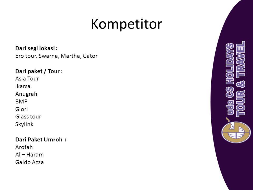 Kompetitor Dari segi lokasi : Ero tour, Swarna, Martha, Gator