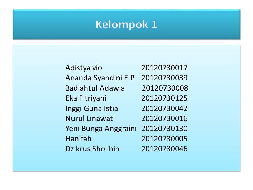 Kelompok 1 Adistya vio 20120730017 Ananda Syahdini E P 20120730039