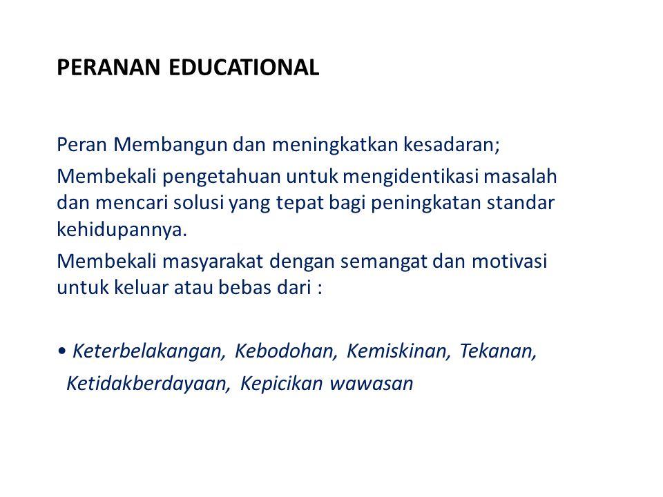 PERANAN EDUCATIONAL Peran Membangun dan meningkatkan kesadaran;