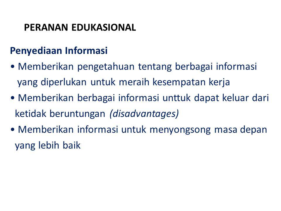 PERANAN EDUKASIONAL Penyediaan Informasi. Memberikan pengetahuan tentang berbagai informasi. yang diperlukan untuk meraih kesempatan kerja.