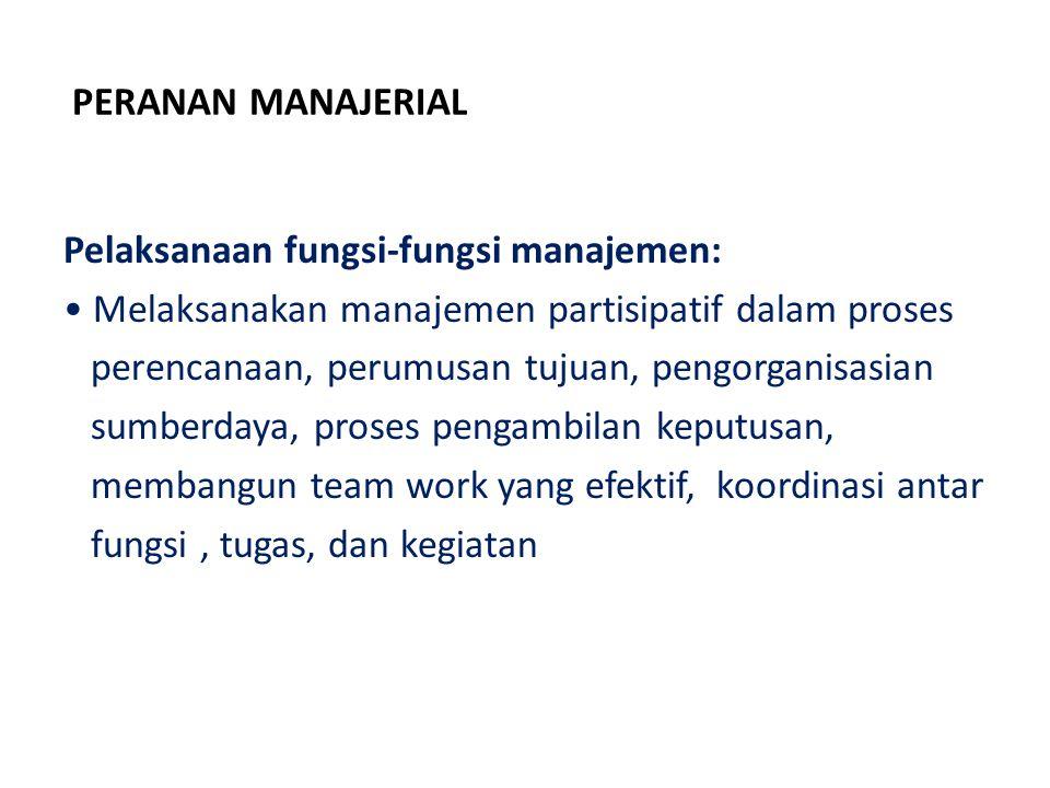 PERANAN MANAJERIAL Pelaksanaan fungsi-fungsi manajemen: Melaksanakan manajemen partisipatif dalam proses.