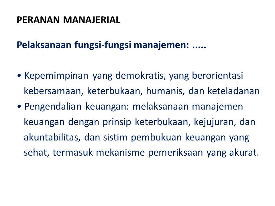 PERANAN MANAJERIAL Pelaksanaan fungsi-fungsi manajemen: ..... Kepemimpinan yang demokratis, yang berorientasi.