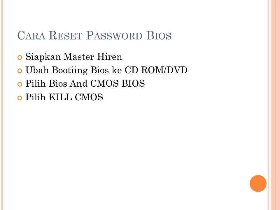 Cara Reset Password Bios