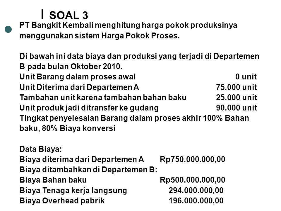 SOAL 3 PT Bangkit Kembali menghitung harga pokok produksinya menggunakan sistem Harga Pokok Proses.