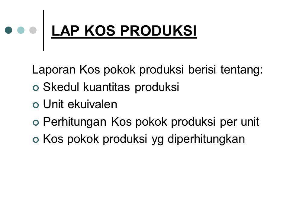 LAP KOS PRODUKSI Laporan Kos pokok produksi berisi tentang: