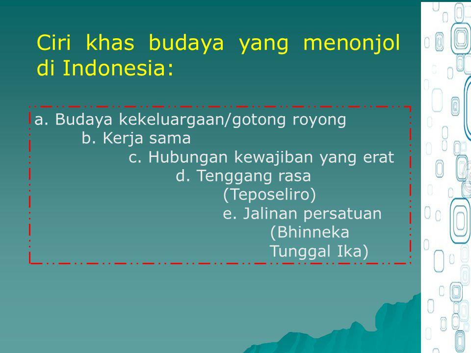 Ciri khas budaya yang menonjol di Indonesia: