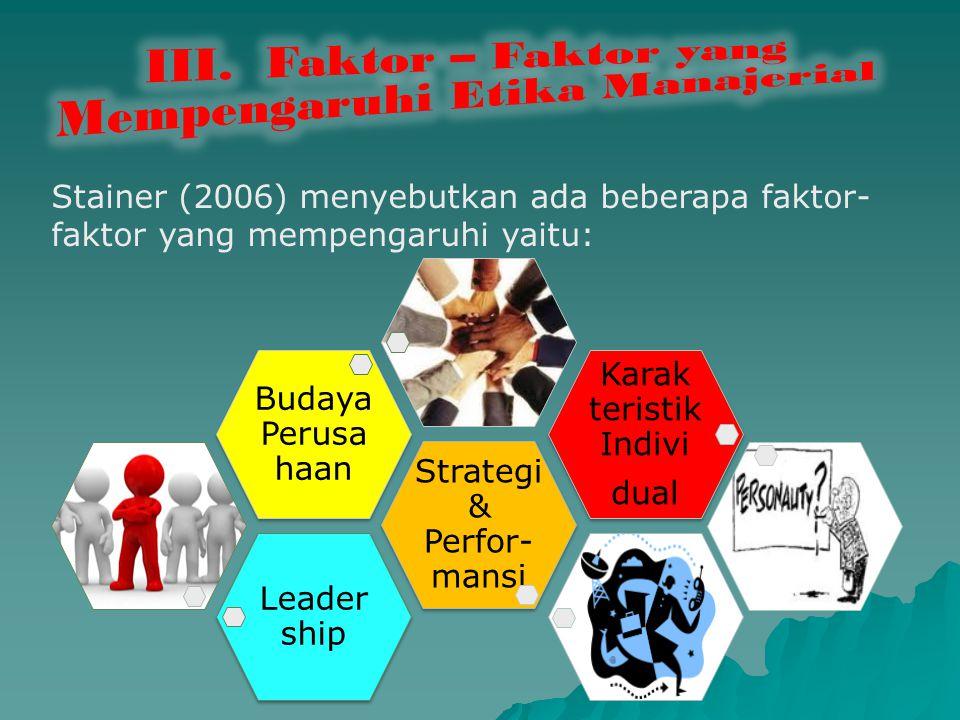 III. Faktor – Faktor yang Mempengaruhi Etika Manajerial