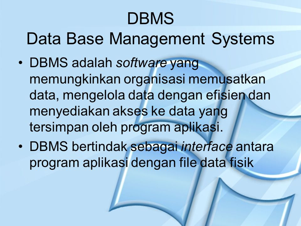 DBMS Data Base Management Systems