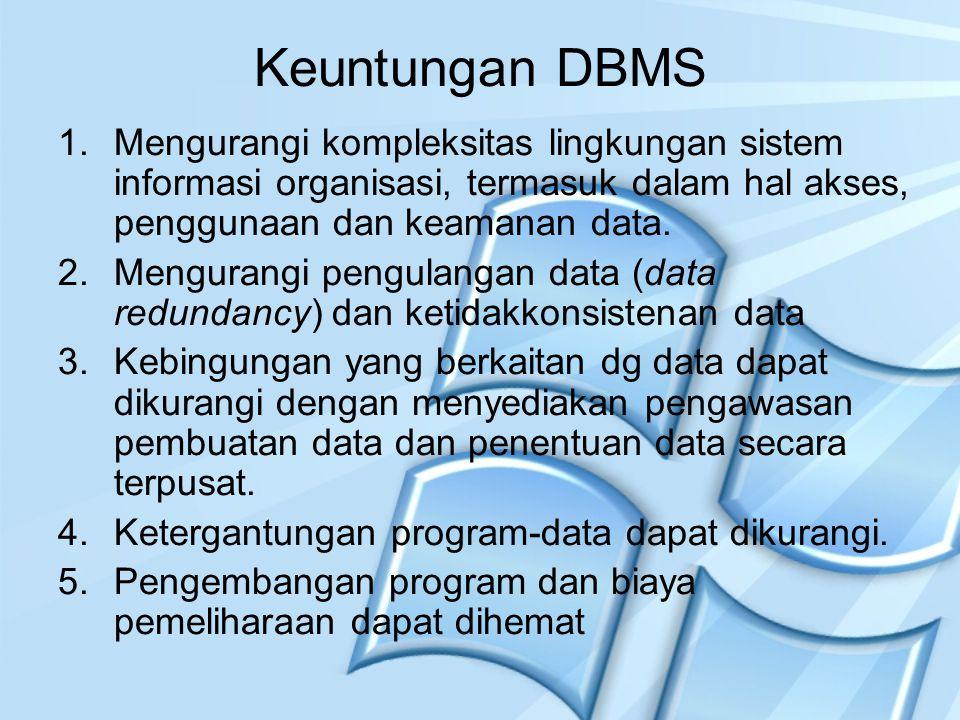 Keuntungan DBMS Mengurangi kompleksitas lingkungan sistem informasi organisasi, termasuk dalam hal akses, penggunaan dan keamanan data.