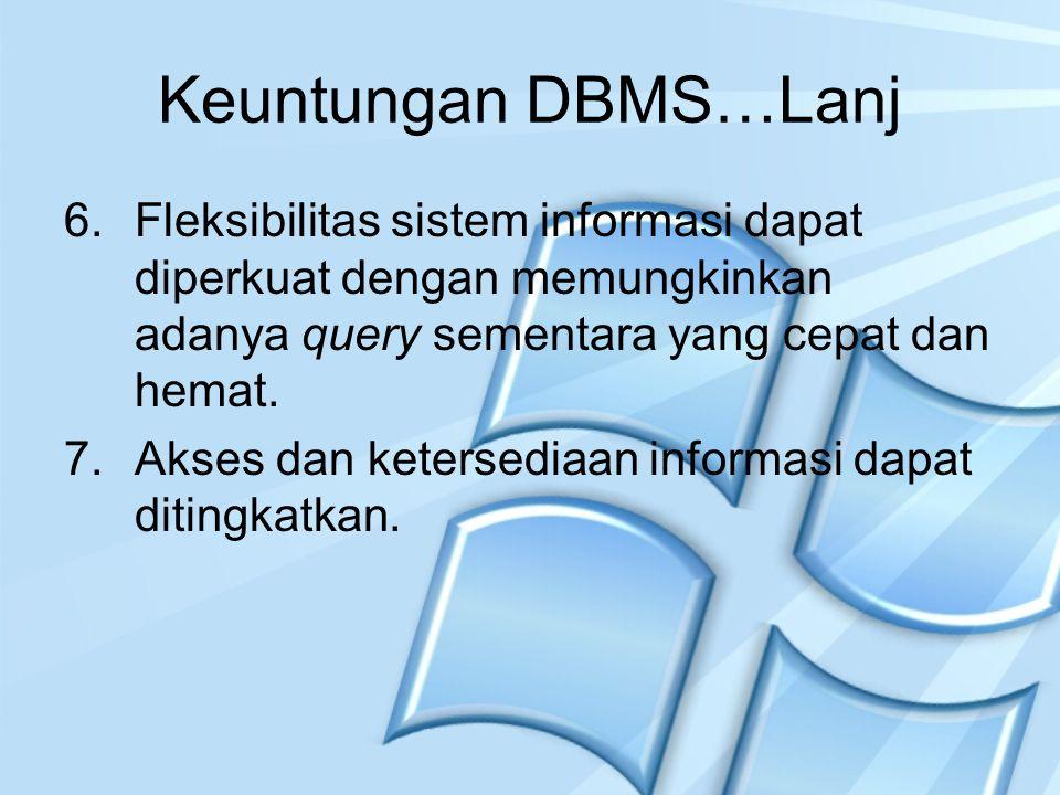 Keuntungan DBMS…Lanj Fleksibilitas sistem informasi dapat diperkuat dengan memungkinkan adanya query sementara yang cepat dan hemat.