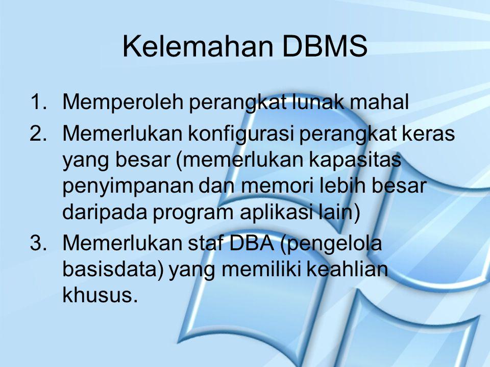 Kelemahan DBMS Memperoleh perangkat lunak mahal