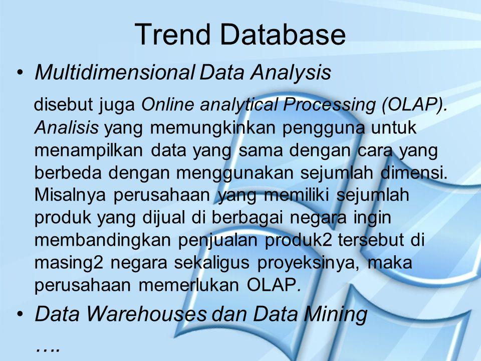 Trend Database Multidimensional Data Analysis