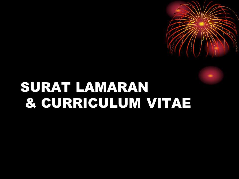 SURAT LAMARAN & CURRICULUM VITAE