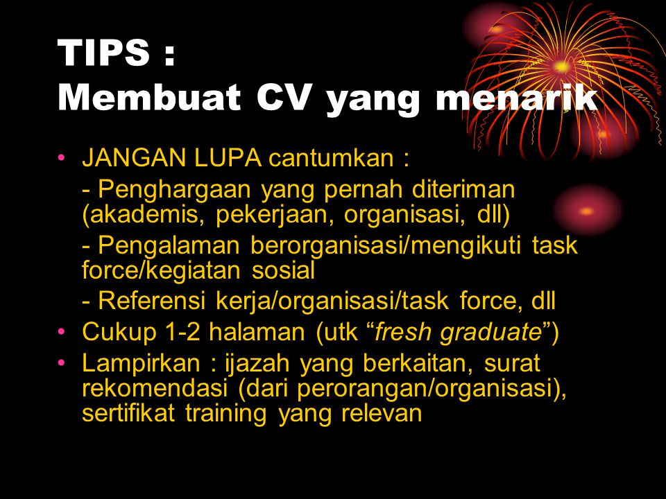 TIPS : Membuat CV yang menarik