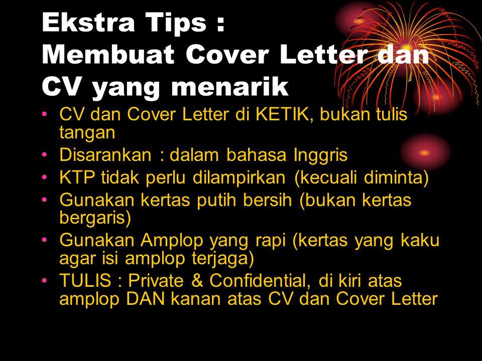 Ekstra Tips : Membuat Cover Letter dan CV yang menarik