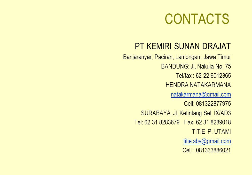 CONTACTS PT KEMIRI SUNAN DRAJAT