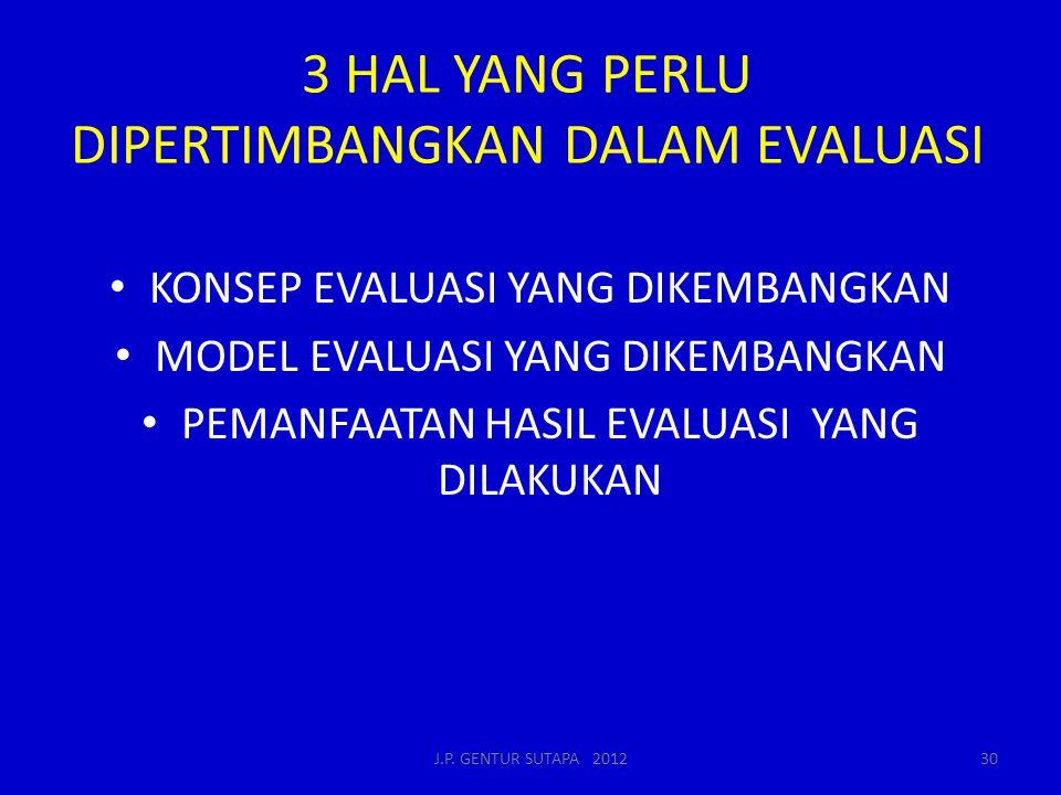 3 HAL YANG PERLU DIPERTIMBANGKAN DALAM EVALUASI