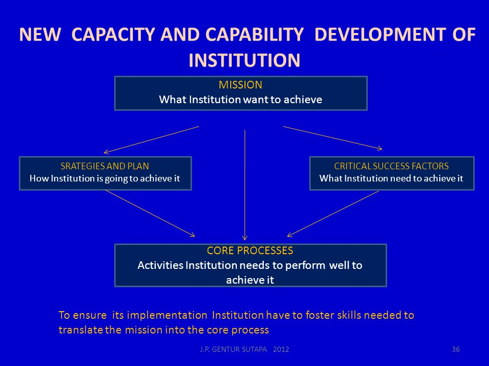 NEW CAPACITY AND CAPABILITY DEVELOPMENT OF INSTITUTION