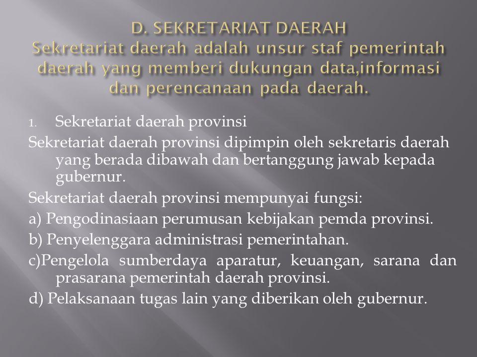 D. SEKRETARIAT DAERAH Sekretariat daerah adalah unsur staf pemerintah daerah yang memberi dukungan data,informasi dan perencanaan pada daerah.