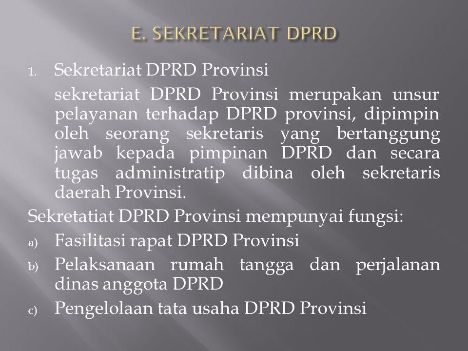 E. SEKRETARIAT DPRD Sekretariat DPRD Provinsi.