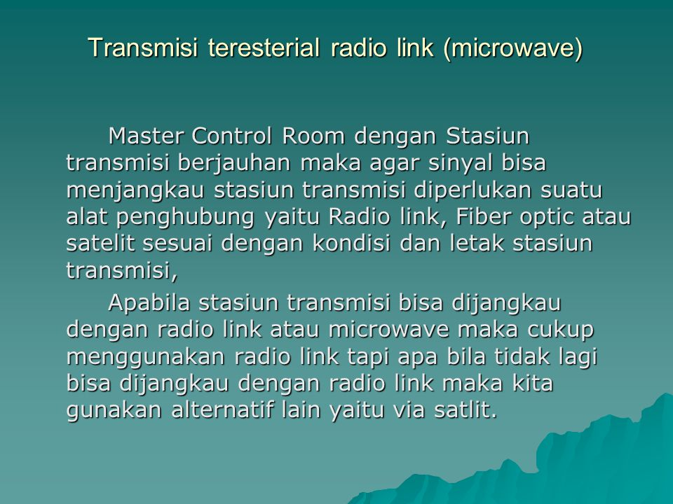 Transmisi teresterial radio link (microwave)