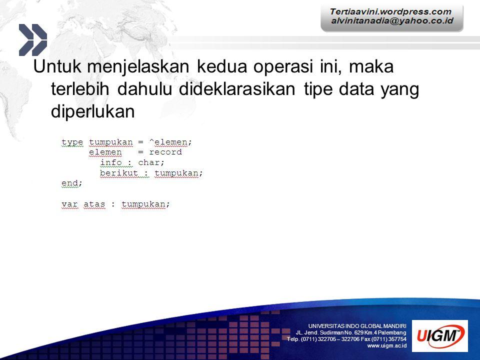 Untuk menjelaskan kedua operasi ini, maka terlebih dahulu dideklarasikan tipe data yang diperlukan