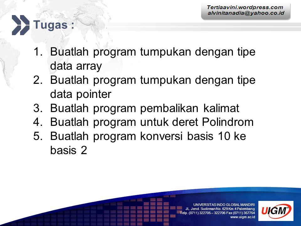 Buatlah program tumpukan dengan tipe data array