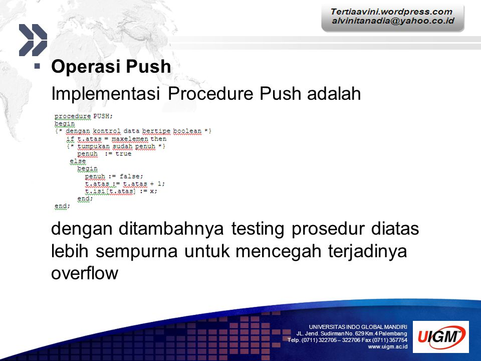 Implementasi Procedure Push adalah