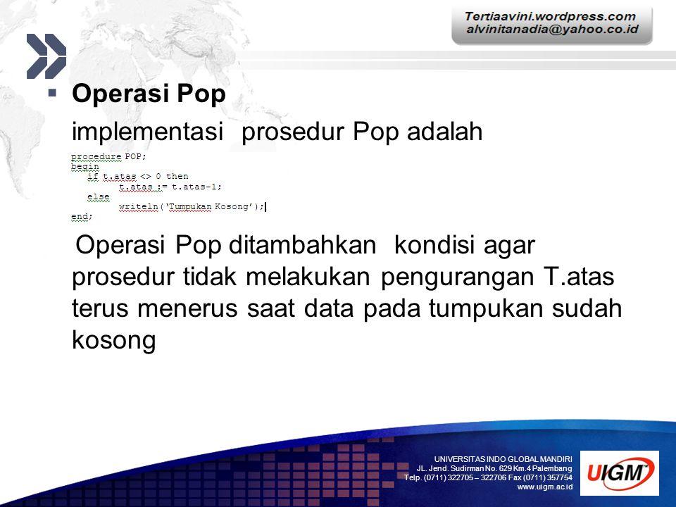 implementasi prosedur Pop adalah