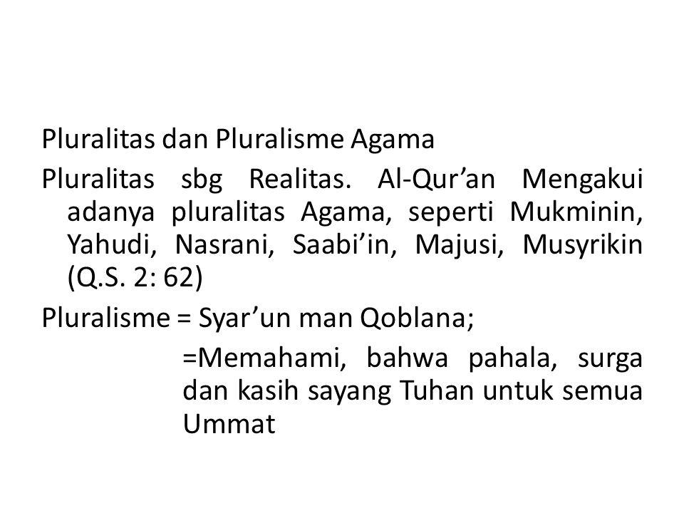 Pluralitas dan Pluralisme Agama Pluralitas sbg Realitas