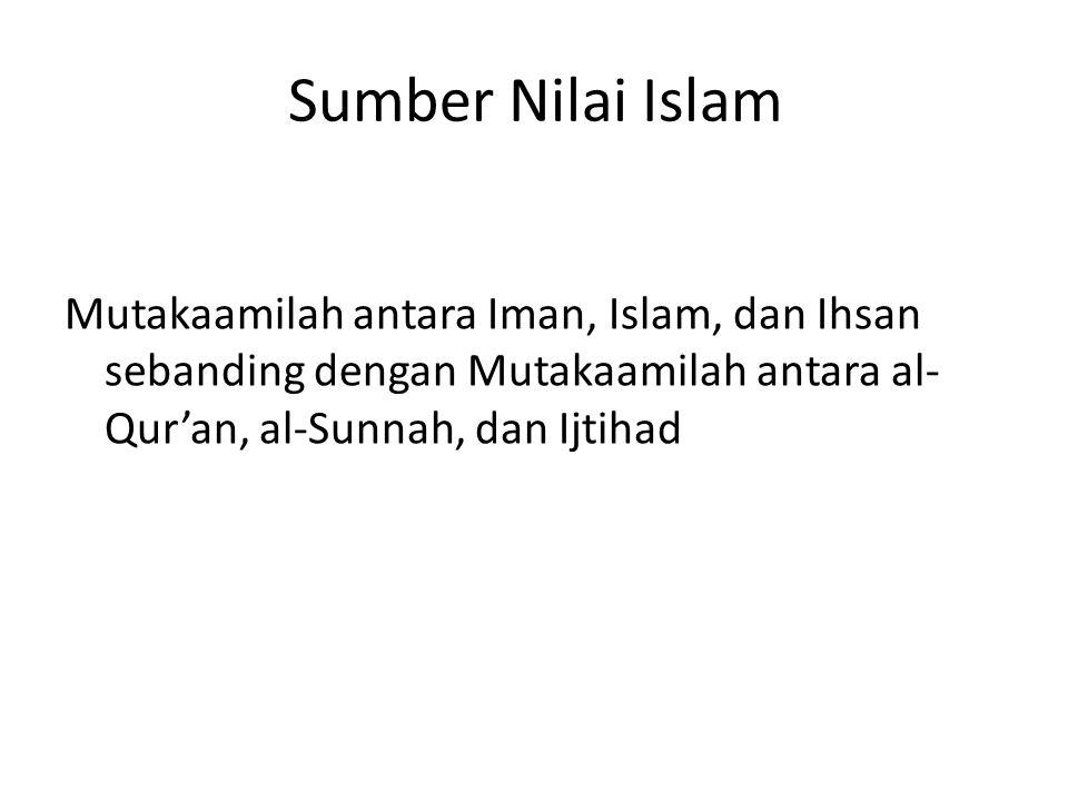 Sumber Nilai Islam Mutakaamilah antara Iman, Islam, dan Ihsan sebanding dengan Mutakaamilah antara al-Qur'an, al-Sunnah, dan Ijtihad.