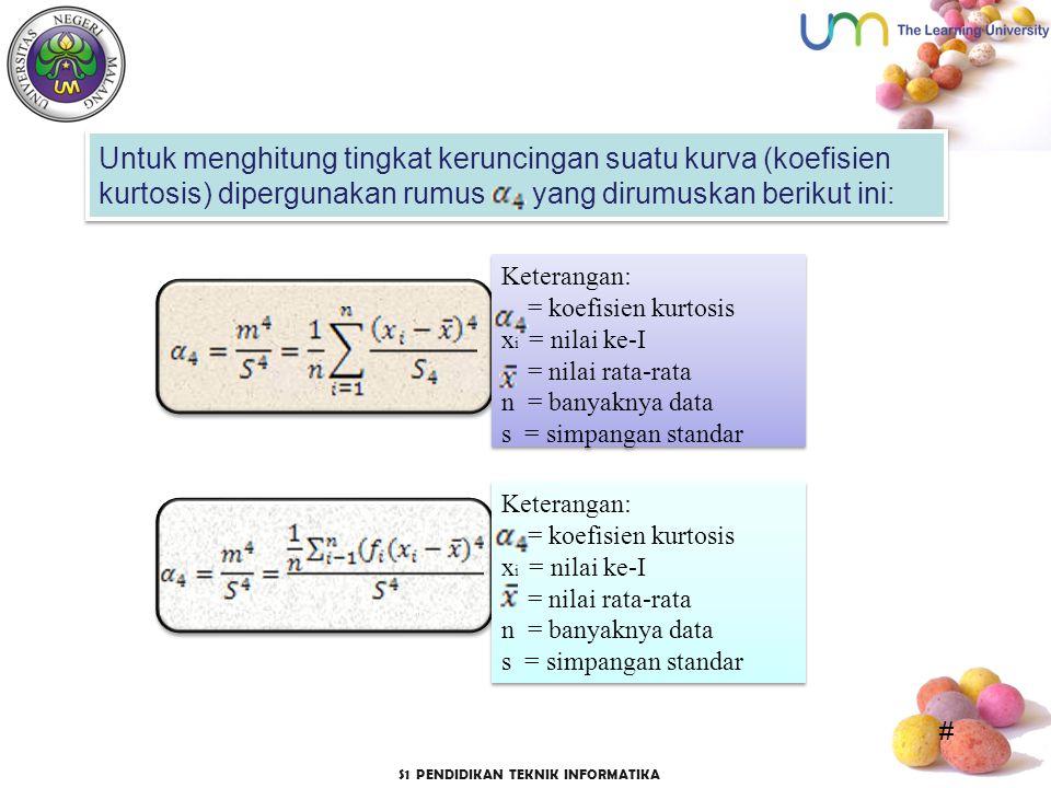 Untuk menghitung tingkat keruncingan suatu kurva (koefisien kurtosis) dipergunakan rumus yang dirumuskan berikut ini:
