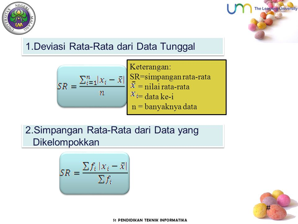 1.Deviasi Rata-Rata dari Data Tunggal