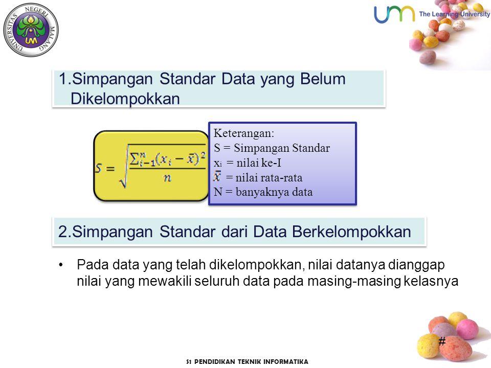 1.Simpangan Standar Data yang Belum Dikelompokkan
