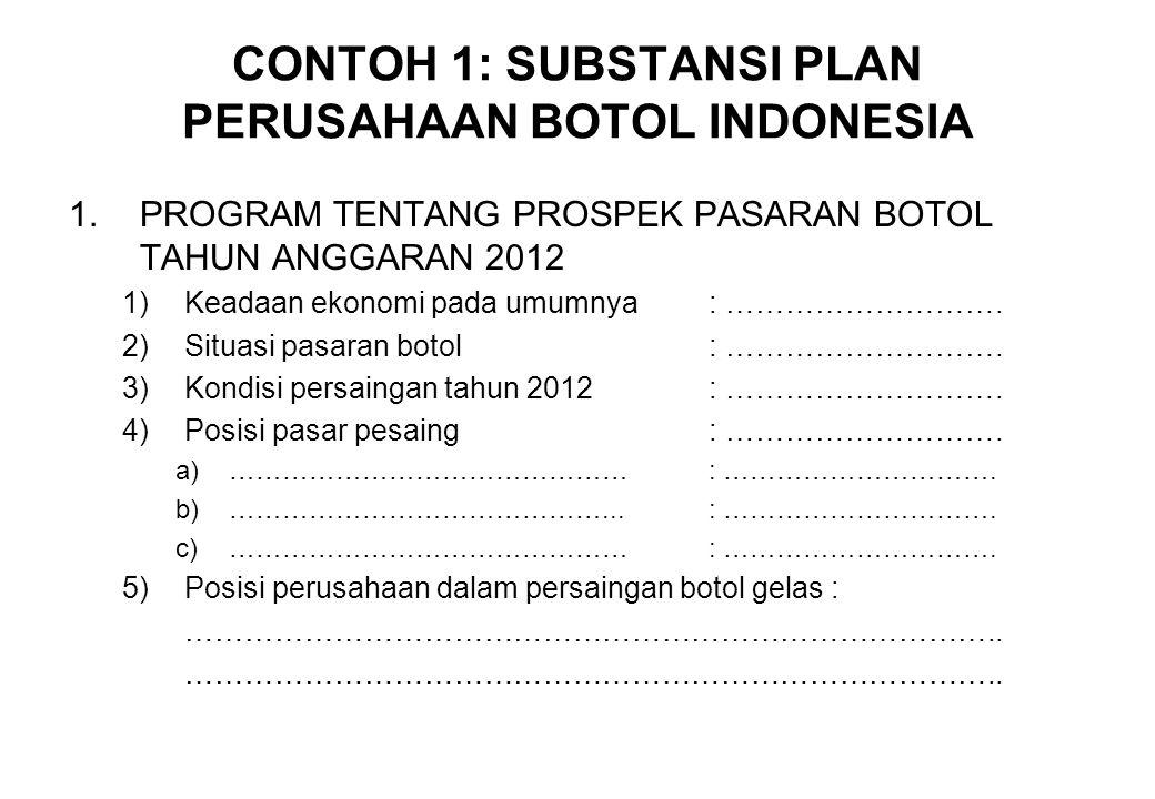 CONTOH 1: SUBSTANSI PLAN PERUSAHAAN BOTOL INDONESIA
