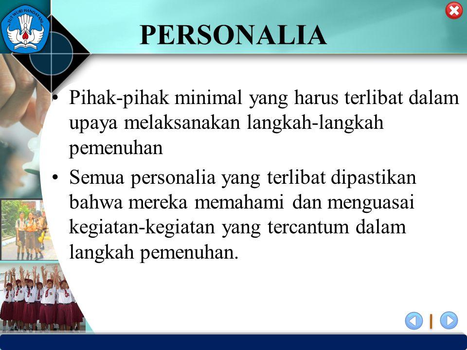 PERSONALIA Pihak-pihak minimal yang harus terlibat dalam upaya melaksanakan langkah-langkah pemenuhan.