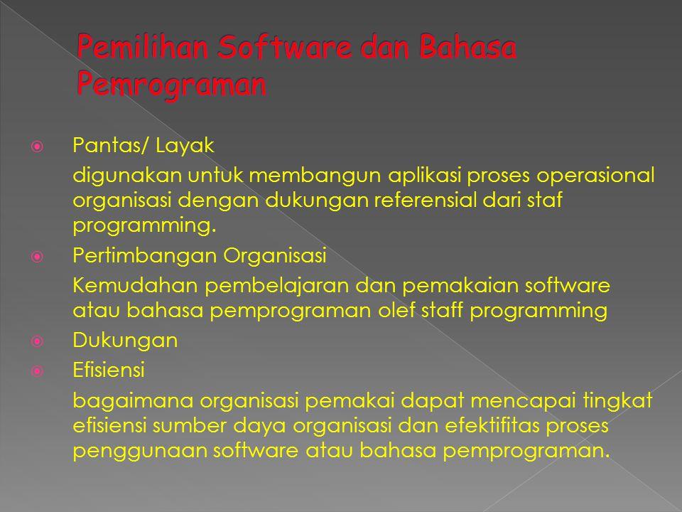 Pemilihan Software dan Bahasa Pemrograman
