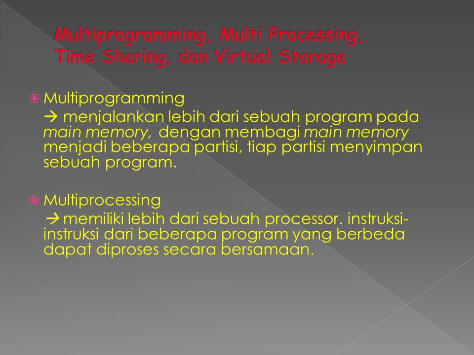 Multiprogramming, Multi Processing, Time Sharing, dan Virtual Storage