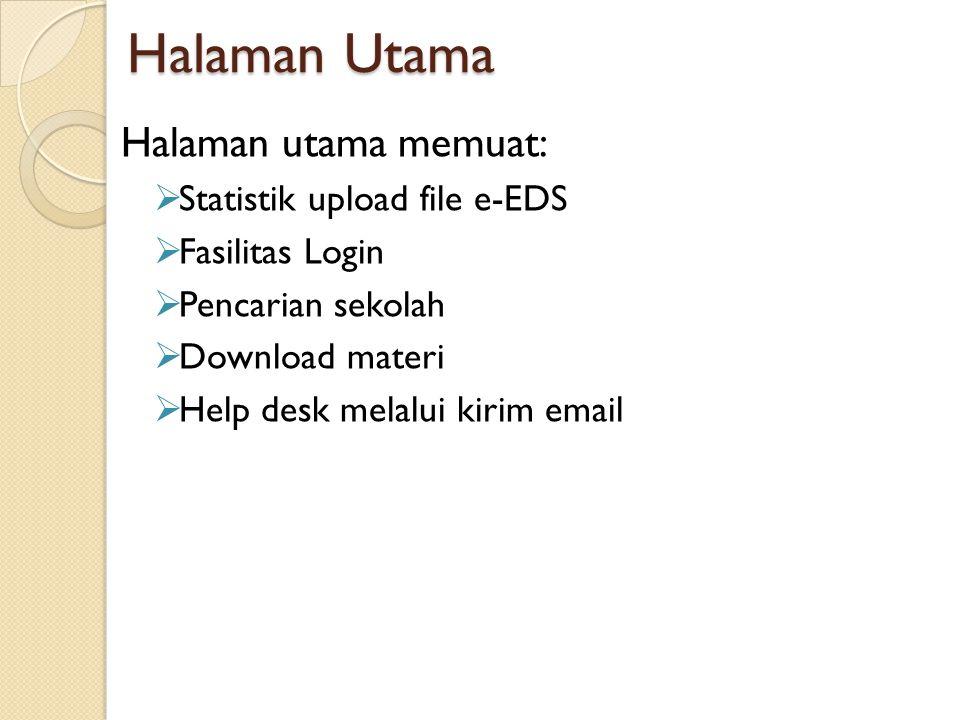 Halaman Utama Halaman utama memuat: Statistik upload file e-EDS