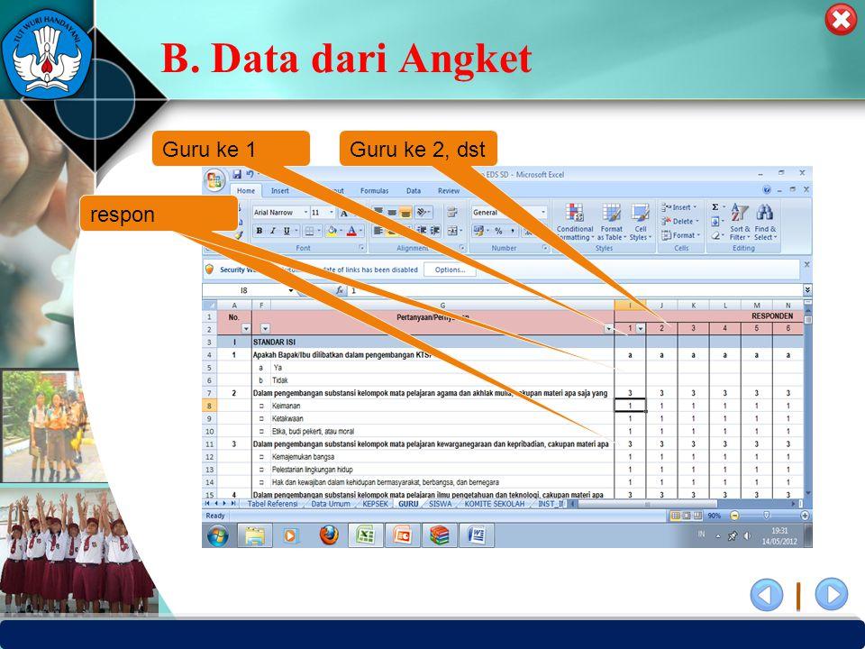 B. Data dari Angket Guru ke 1 Guru ke 2, dst respon respon